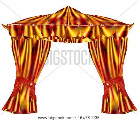 Folded red, gold and green curtains with wavy pattern. Velvet folded drapery with red ribbons and glowing gemstones