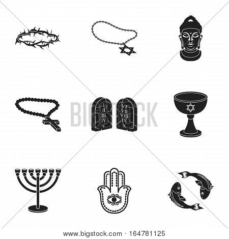 Religion set icons in black style. Big collection of religion vector symbol stock