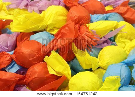 Background Of Colorful Candies Individually Wrapped For Sale