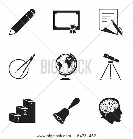 School set icons in black style. Big collection of school vector symbol stock
