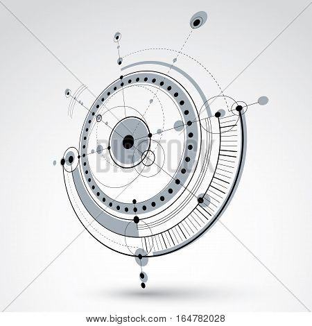 Technical drawing made using dashed lines and geometric circles. Black and white perspective vector backdrop created in communications technology style 3d engine design.