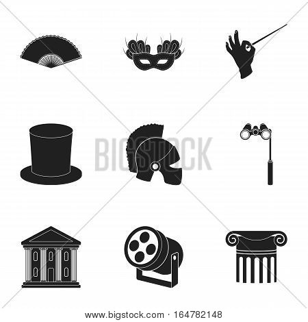 Theater set icons in black style. Big collection of theater vector symbol stock