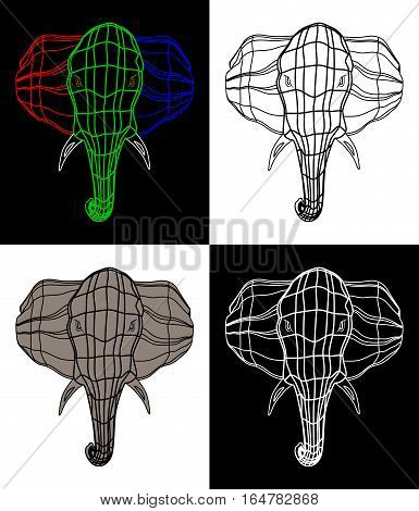 set of four pictures . the head of a large and strong elephant. grid of the three colors. Isolate on black background.