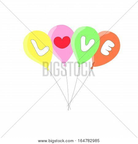 balloons colorful love text design on white background