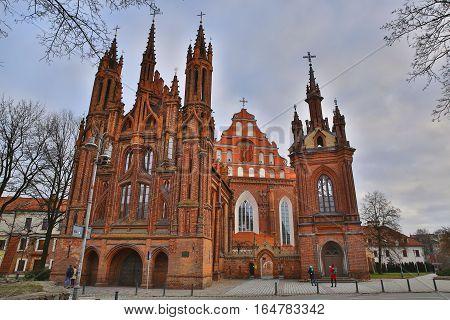 VILNIUS, LITHUANIA - DECEMBER 29, 2016: St Anne's Church and Bernardine Church