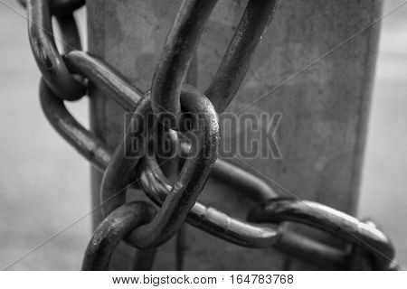 Close-up View Of Old Rusty Chain Links.