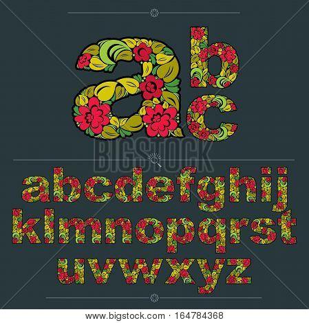 Floral Alphabet Sans Serif Letters Drawn Using Abstract Vintage Pattern, Spring Leaves Design. Color
