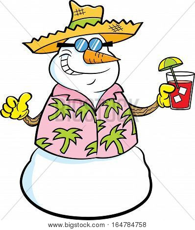 Cartoon illustration of a snowman wearing a straw hat and holding a tropical drink.
