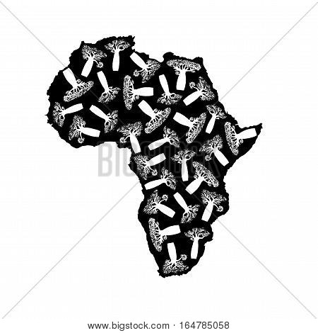 Vector silhouette of black Africa with white baobabs silhouette inside.