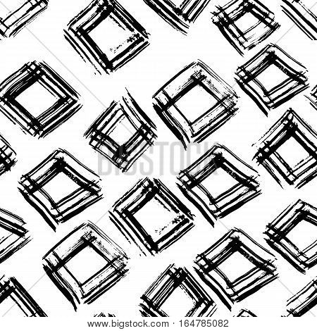 Hand drawn vector seamless pattern. Grunge abstract background. Repeating black and white geometric texture. Vector illustration