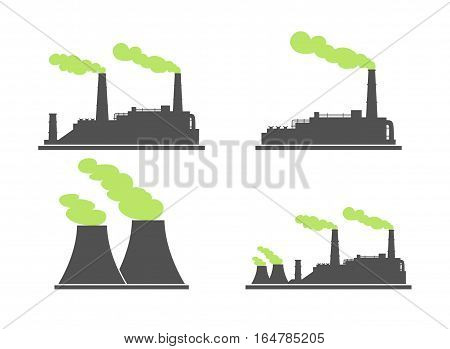 Set of industry factory building icons. Plant and factory power and smoke oil and energy. Vector illustration of eco factory with green smoke.