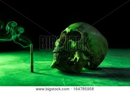 Abstract Still Life Skull Of A Skeleton With Burning Cigarette, Stop Smoking Campaign Concept With C