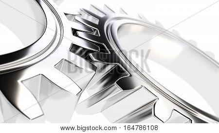 mechanical gear with sharp light and white environment and with place for copy space 3d illustration
