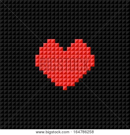 Vector Pixel Art heart on black pixel background. Symbol of love. Greeting card for Valentine Day. Flat design
