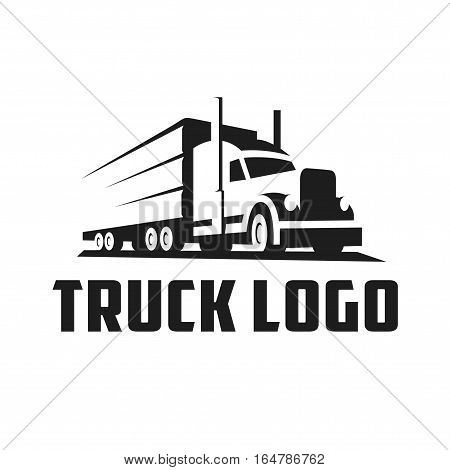 Minimalist Truck Logo Negative Space Vector Illustration