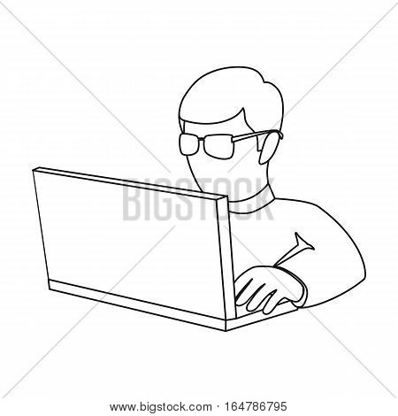 Computer hacker icon in outline design isolated on white background. Hackers and hacking symbol stock vector illustration.