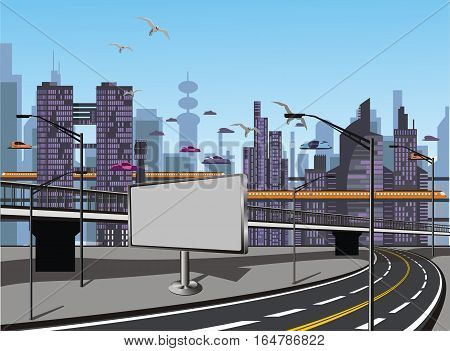 Landscape. The view from the motorway to the metropolis of the future. Vector illustration