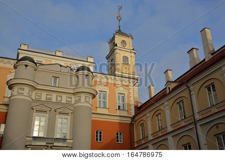 VILNIUS, LITHUANIA - DECEMBER 29, 2016: View from the Observatory courtyard inside Vilnius University