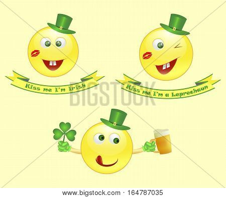 Vector smile icon on Saint Patricks Day character leprechaun with green hat and funny legend. Vector illustration. eps10