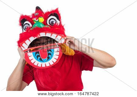 Asian Chinese Man Perform Lion Dance Celebrating Chinese New Year