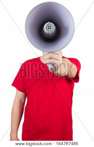 Asian Chinese Man Wearing Red Shirt Holding Loudspeaker