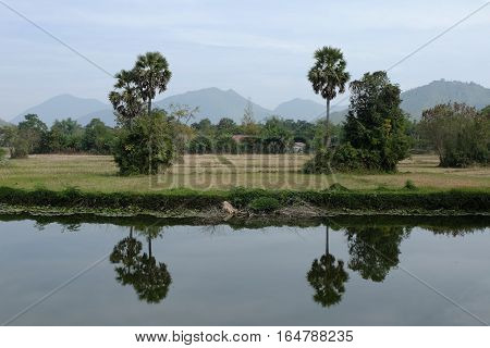field vintage and water landscape in thailand