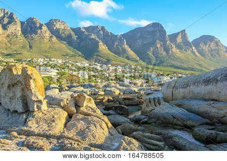 Big rocks in Camps Bay with Table Mountain National Park behind him. Camps Bay is one of the most exclusive resort of South Africa Also known as Cape Town's Riviera.