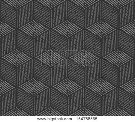 Seamless geometric pattern consisting of cubes, dark grey background, vector illustration