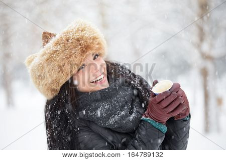 Pretty Winter Woman Happy For Snowfall