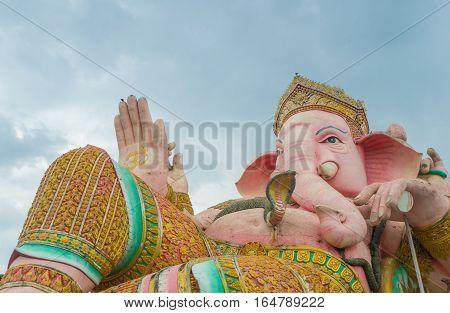 Lord Ganesha Statue on blue sky Nakhon Nayok Thailand Public Domain