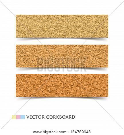 Cork board banner texture. Realistic vector illustration web banners with shadow isolated on white background.