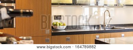 Kitchen With Black Worktop