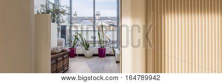 Beige Villa Interior With Window