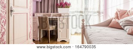 Stylish Pink Room With Bed
