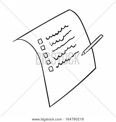 Shopping list icon in outline design isolated on white background. Supermarket symbol stock vector illustration.