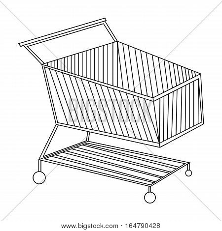 Shopping cart icon in outline design isolated on white background. Supermarket symbol stock vector illustration.