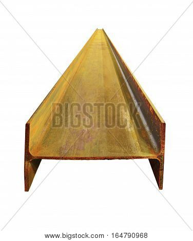 Rusty steel I-beams. Isolate on white background