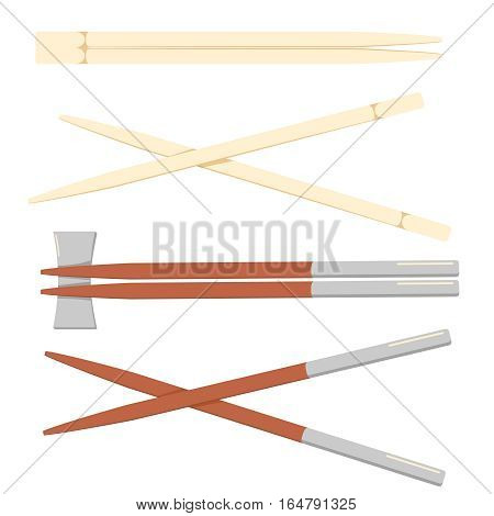 chopstick japanese isolated icon. Wooden chopsticks isolated on white background. Vector concept illustration for design.