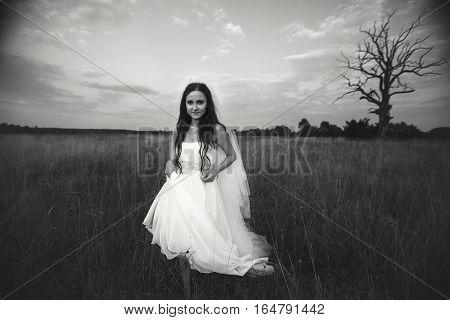 Amazing bride in white dress crosses the autumn field