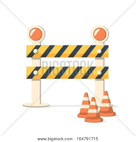 Fence light construction icon. Barricade and Warning Light Closeup on Isolated White Background. Vector illustration of set of under construction object