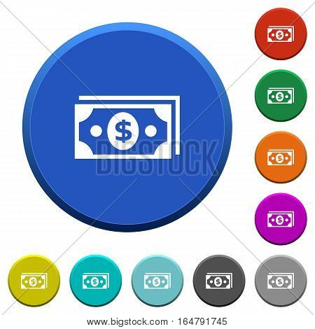 Dollar banknotes round color beveled buttons with smooth surfaces and flat white icons