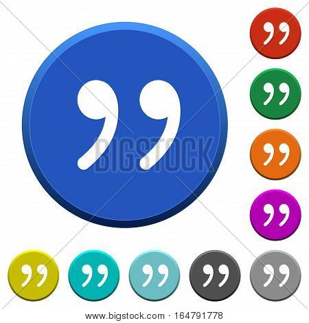Quotation mark round color beveled buttons with smooth surfaces and flat white icons