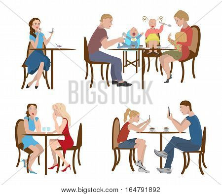 Set of people in a cafe, vector illustration, eps10