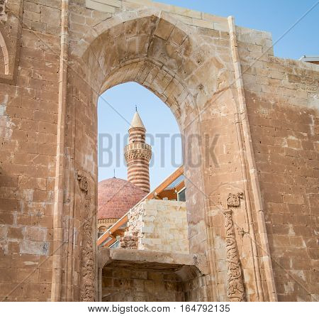Agri, Turkey - September 29, 2013: Interior scene from Ishak Pasha Palace (İshak Pasa Sarayi)