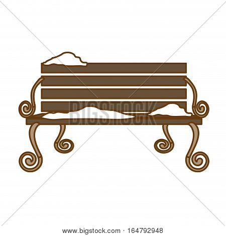 oudoors bench with snow icon image vector illustration design
