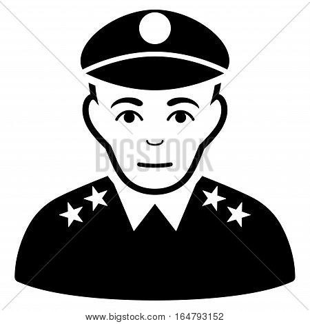 Army General vector icon. Flat black symbol. Pictogram is isolated on a white background. Designed for web and software interfaces.