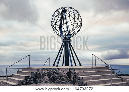 Nordkapp, Norway - June 6, 2016: Globe monument at Nordkapp, the northernmost point of Europe