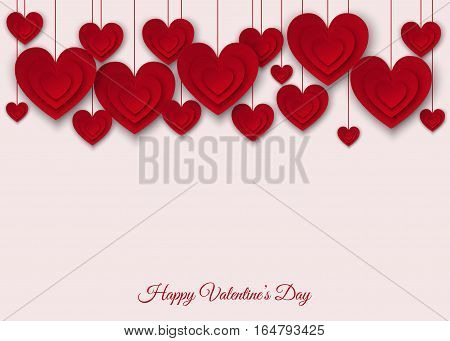 Valentines day background with red cut paper hearts. Vector illustration for party invitation flyer sale banners greeting postcard save the date card templates.