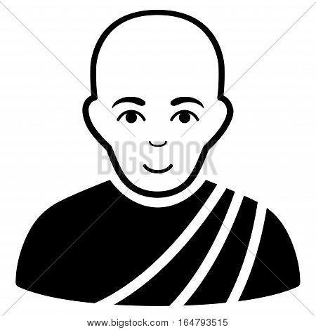 Buddhist Monk vector icon. Flat black symbol. Pictogram is isolated on a white background. Designed for web and software interfaces.
