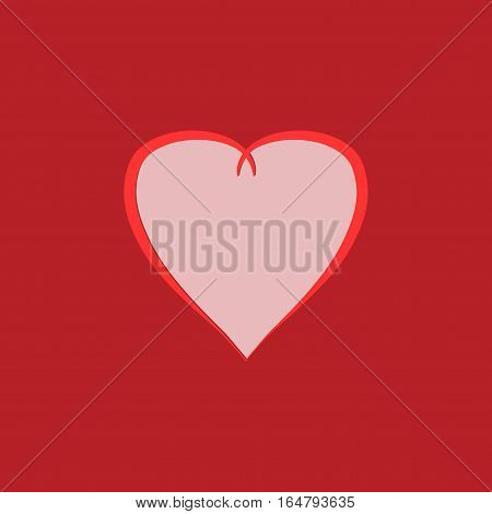 Heart isolated. Pink sign on red background. Romantic silhouette symbol linked join love passion and wedding. Colorful mark of valentine day. Design element. Vector illustration